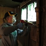 16 Caulking around basement windows for air sealing