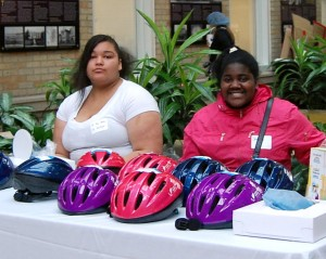 PCRI resident Jericho (right) volunteered at the Bike Drive