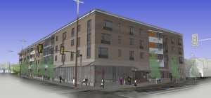 King + Parks Apartments. Rendering: Merryman Barnes Architects