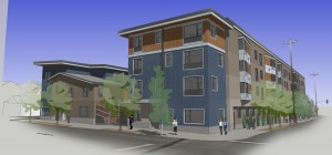 King + Parks Apartments courtyard entrance. Rendering: Merryman Barnes Architects