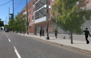 King + Parks Apartments, rendering of development as viewed from MLK Blvd. looking south.
